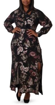 Marée Pour Toi Plus Size Foil Print Mesh Bow-Neck Maxi Dress