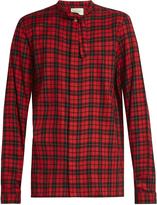 Gucci Tie-neck checked button-cuff shirt