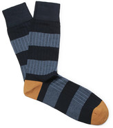 Corgi Striped Ribbed Cotton-blend Socks - Navy
