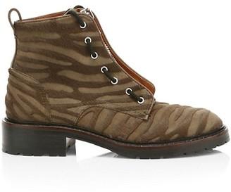 Rag & Bone Cannon Zip-Up Zebra-Stripe Calf Hair Combat Boots