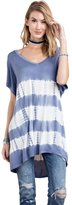 Easel Women's Short Sleeve Oversized Tie Dye Tunic with Hi Low Hem