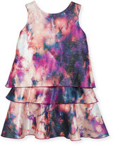 Zoë Ltd Watercolor Tiered Shimmer Dress, Pink, Size 7-16