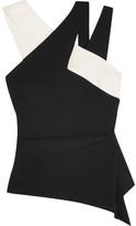 Roland Mouret Thornhill Color-block Stretch-crepe Top - Black