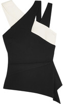 Roland Mouret Thornhill Two-tone Stretch-crepe Top - Black