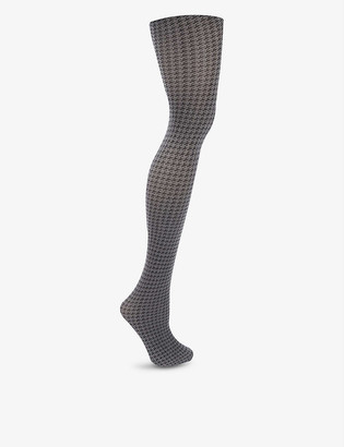 Wolford Leslie houndstooth cotton-blend knitted tights
