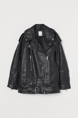 H&M Oversized leather biker jacket