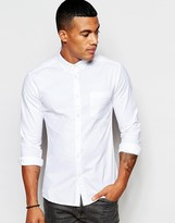 Asos Casual Super Skinny Oxford Shirt In White