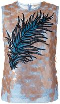 Emilio Pucci sequined feather embroidery top - women - Silk/Polyamide/Viscose - 40