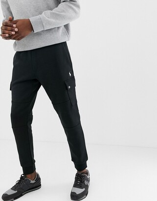 Polo Ralph Lauren slim fit cuffed joggers with cargo pockets in black