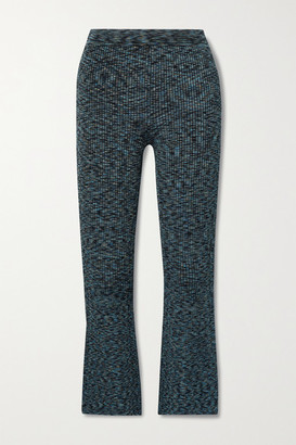 Theory Cropped Space-dyed Ribbed-knit Flared Pants - Blue