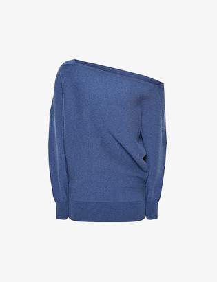 Reiss Amy slash-neck knitted top