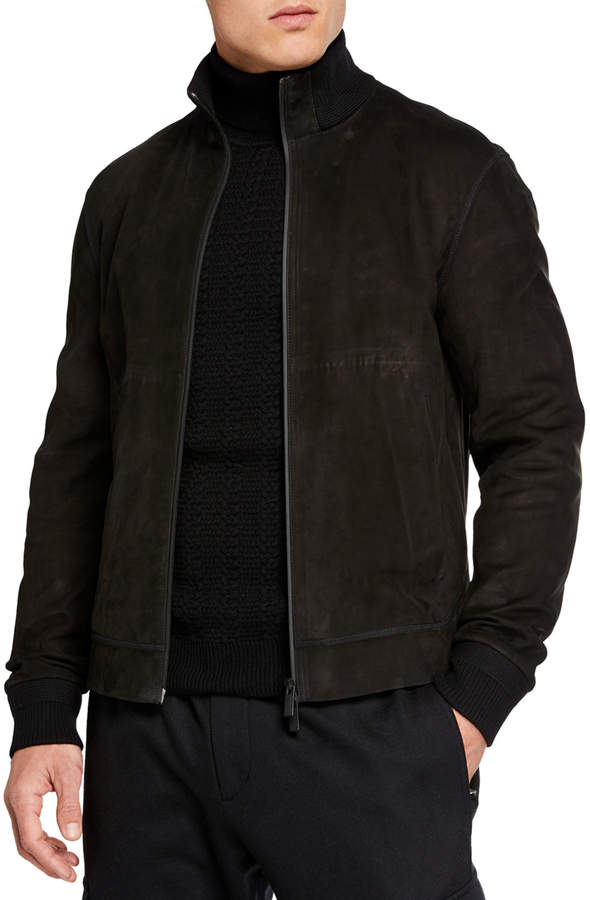 9b968cdc Men's Full-Zip Nubuck Leather Jacket