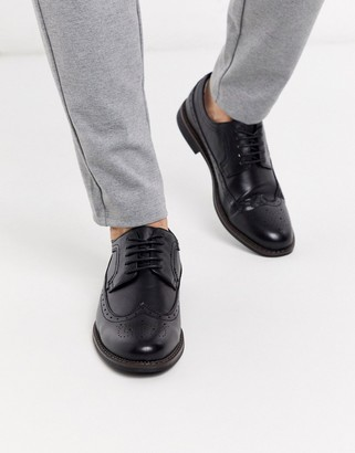 Truffle Collection brogue lace up shoe in black
