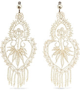 Gucci Burnished Silver-tone, Swarovski Crystal And Faux Pearl Earrings