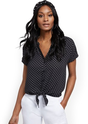 New York & Co. Dot-Print Tie-Front Short-Sleeve Blouse