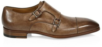 Saks Fifth Avenue COLLECTION BY MAGNANNI Burnished Leather Double Monk Strap Dress Shoes