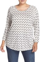 Sejour Plus Size Women's Dot Print Three-Quarter Sleeve Tee