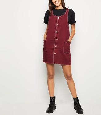 New Look Button Up Denim Pinafore Dress