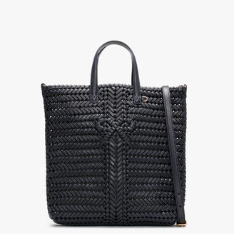 Anya Hindmarch Small Neeson North South Marine Leather Woven Tote Bag