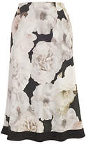 Chesca Contrast Trim Rose Print Skirt, Blush