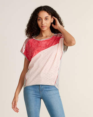 Desigual Pink and Grey Multimedia Tee