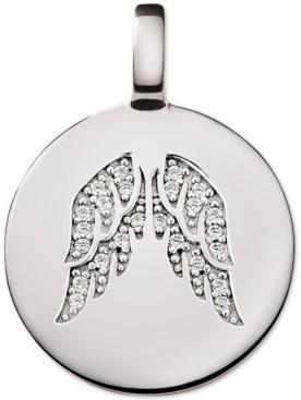 CHARMBAR Swarovski Zirconia Reversible Angel Wing Charm Pendant in Sterling Silver
