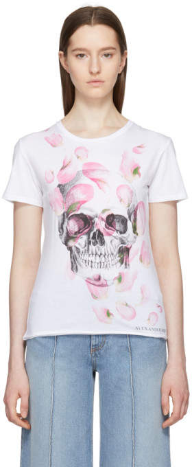 Alexander McQueen White Petal and Skull T-Shirt