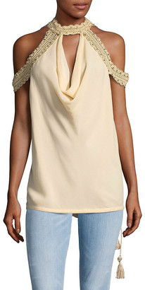 Haute Hippie Mock Neck Silk Cold Shoulder Top