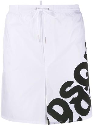 DSQUARED2 logo-print long-length swim shorts