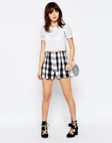 Asos Pleated Culottes in Gingham Check