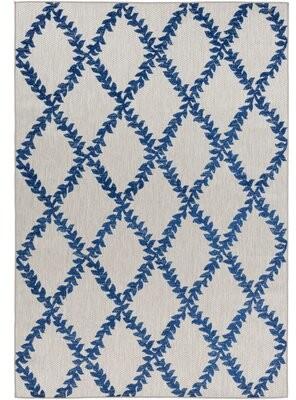 Charlton Home Opalo Trellis Dark Blue/Taupe Indoor/Outdoor Area Rug Rug Size: Rectangle 2' x 3'