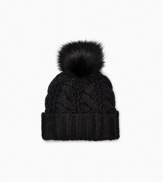 UGG Knit Cable Beanie Faux Fur Pom