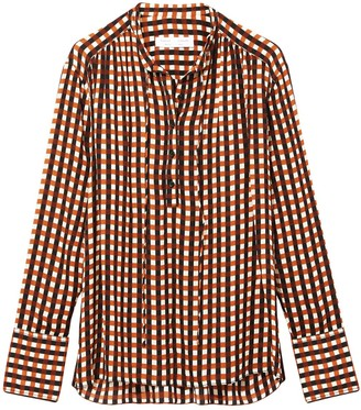 Proenza Schouler White Label Multicolor Gingham Georgette Long Sleeve Blouse