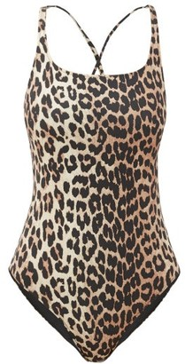 Ganni Leopard-print Scoop-back Swimsuit - Womens - Leopard