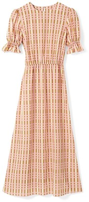 Phoebe Grace Tilly Round Neck Midaxi Puff Sleeve Dress In Pink Check