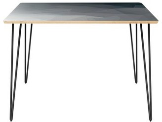 """Wrought Studioâ""""¢ Convery Dining Table Wrought Studioa Table Top Boarder Color: Natural, Table Base Color: Black, Table Top Color: Gray/Black"""