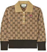 Gucci Metallic-trimmed Intarsia Wool Sweater - Camel