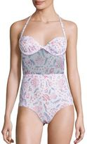 Zimmermann Zephyr One-Piece Quilted Floral Swimsuit