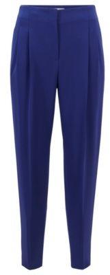 HUGO BOSS Cropped Regular Fit Pants In Japanese Stretch Crepe - Dark Purple