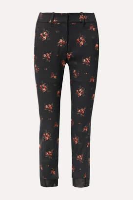 Ann Demeulemeester Georgette-trimmed Cotton-blend Floral-jacquard Slim-fit Pants - Black