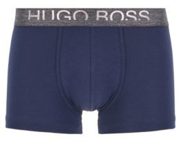 BOSS Straight-cut jersey trunks with cropped-logo waistband