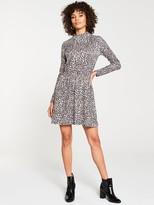 Very High Neck Jersey Skater Dress - Leopard Print