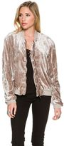 Free People Rouched Velvet Bomber Jacket