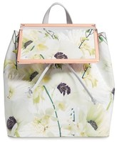 Ted Baker 'Trinity' Floral Leather Backpack - Grey