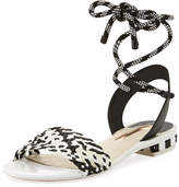 Sophia Webster Nia Woven Ankle-Wrap Sandal, Black/White
