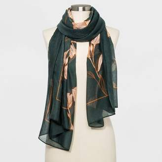 A New Day Women's Floral Print Oblong Scarf Green Floral One Size