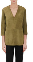 Givenchy WOMEN'S SUEDE TUNIC TOP-GREEN SIZE 38 FR