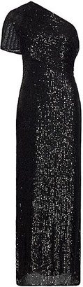 Halston Diana Linear Sequin One-Shoulder Gown
