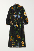 Thumbnail for your product : Lela Rose Convertible Tie-detailed Floral-print Georgette Midi Dress - Black