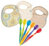 Born Free Muslin and Terry Bibs with 6 Pack Soft Tip Infant Spoons, Medallion